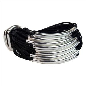 Gillian Julius Designer Cord Bracelet Black Silver